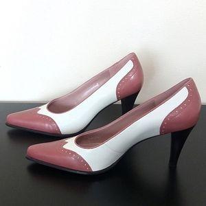 Franco Sarto Off White And Mauve Oxford Style Heel